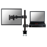 "Newstar Full Motion and Desk Mount (clamp) for 10-27"" Monitor Screen AND Laptop, Height Adjustable - Black"