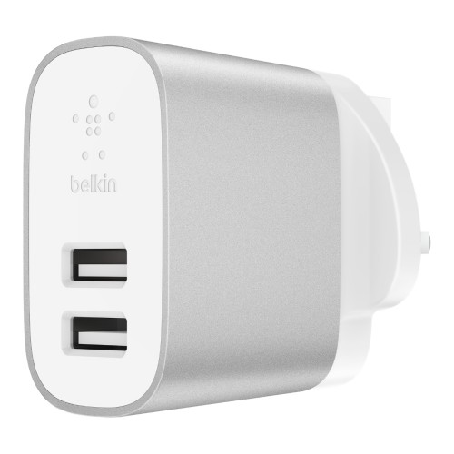 Belkin F7U049MYSLV mobile device charger Indoor Silver,White
