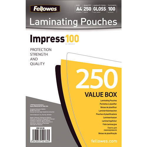 Fellowes A4 Glossy 100 Micron Laminating Pouch Value Pack