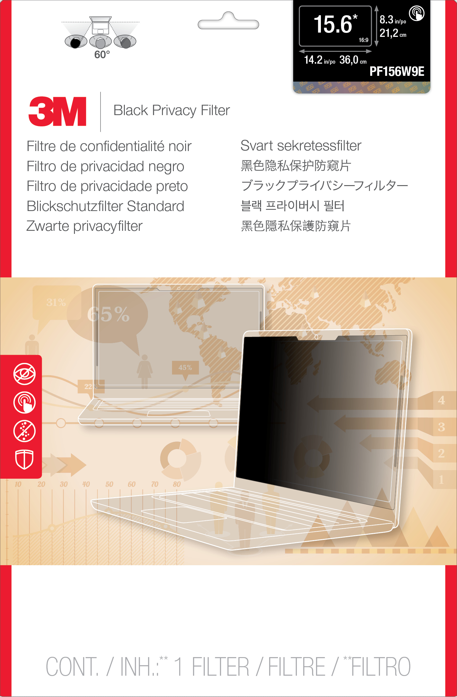 "3M PF156W9E Privacy Filter for Edge-to-Edge 15.6"" Widescreen Laptop"