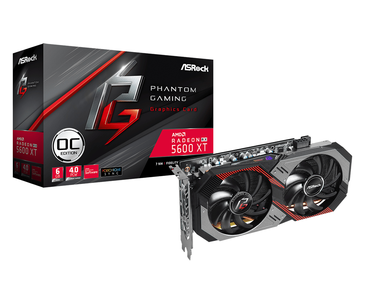 Graphics Card Radeon Rx 5600 Xt Phantom Gaming D2 6g Oc 3 X DisplayPort / 1 X Hdmi (90-ga1wzz-00uanf)