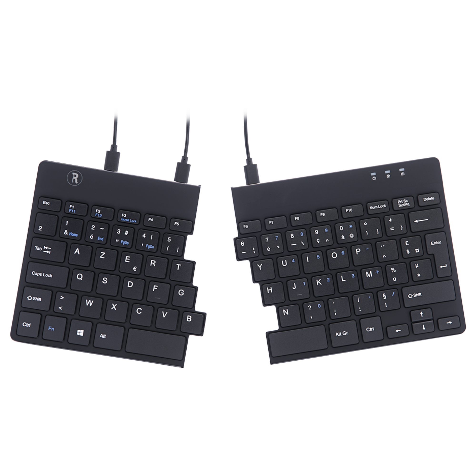 Split Ergonomic Keyboard Fr Layout Azerty Black Wired