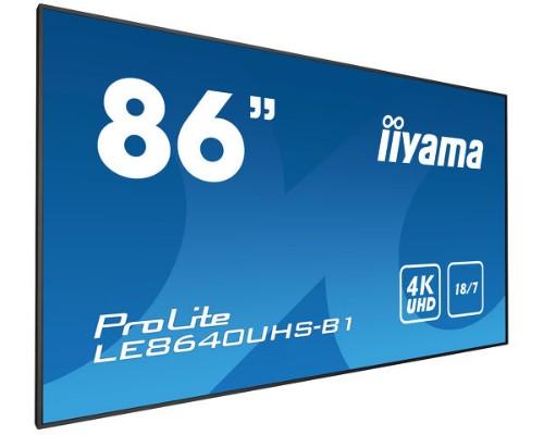 "iiyama LE8640UHS-B1 signage display 2.17 m (85.6"") LED 4K Ultra HD Digital signage flat panel Black"