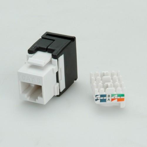 Value Keystone Jack, Cat.6, RJ-45, unshielded, 180°, toolless white