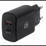 Manhattan Wall/Power Charger (Euro 2-pin), USB-C & USB-A ports, USB-C up to 18W / 3A, USB-A up to 5V / 2.4A, Black, Three Year Warranty, Box