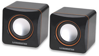 Manhattan 2600 Series Speaker System, Small Size, Big Sound, Two Speakers, Stereo, USB power, 3.5mm plug for sound, In-Line volume control, Black