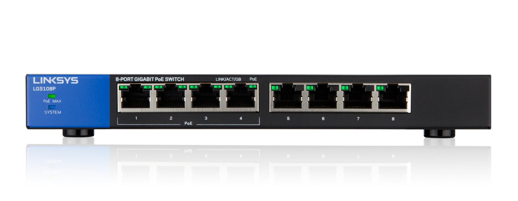 Linksys Conmutador PoE Gigabit de escritorio de 8 puertos (LGS108P)