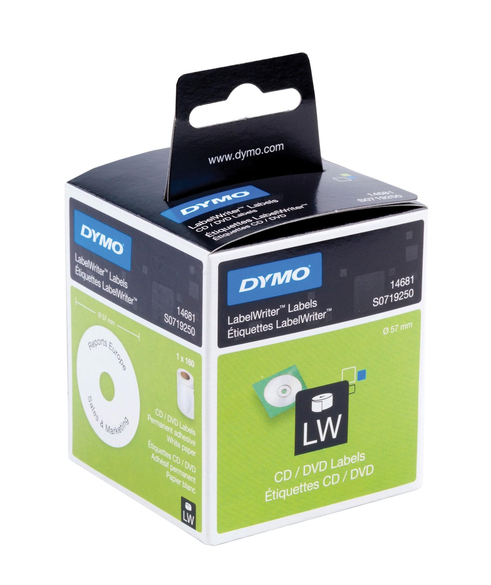 DYMO CD/DVD, Paper/White 57mm Diameter, 1 Roll/Box, 160 Labels/Roll
