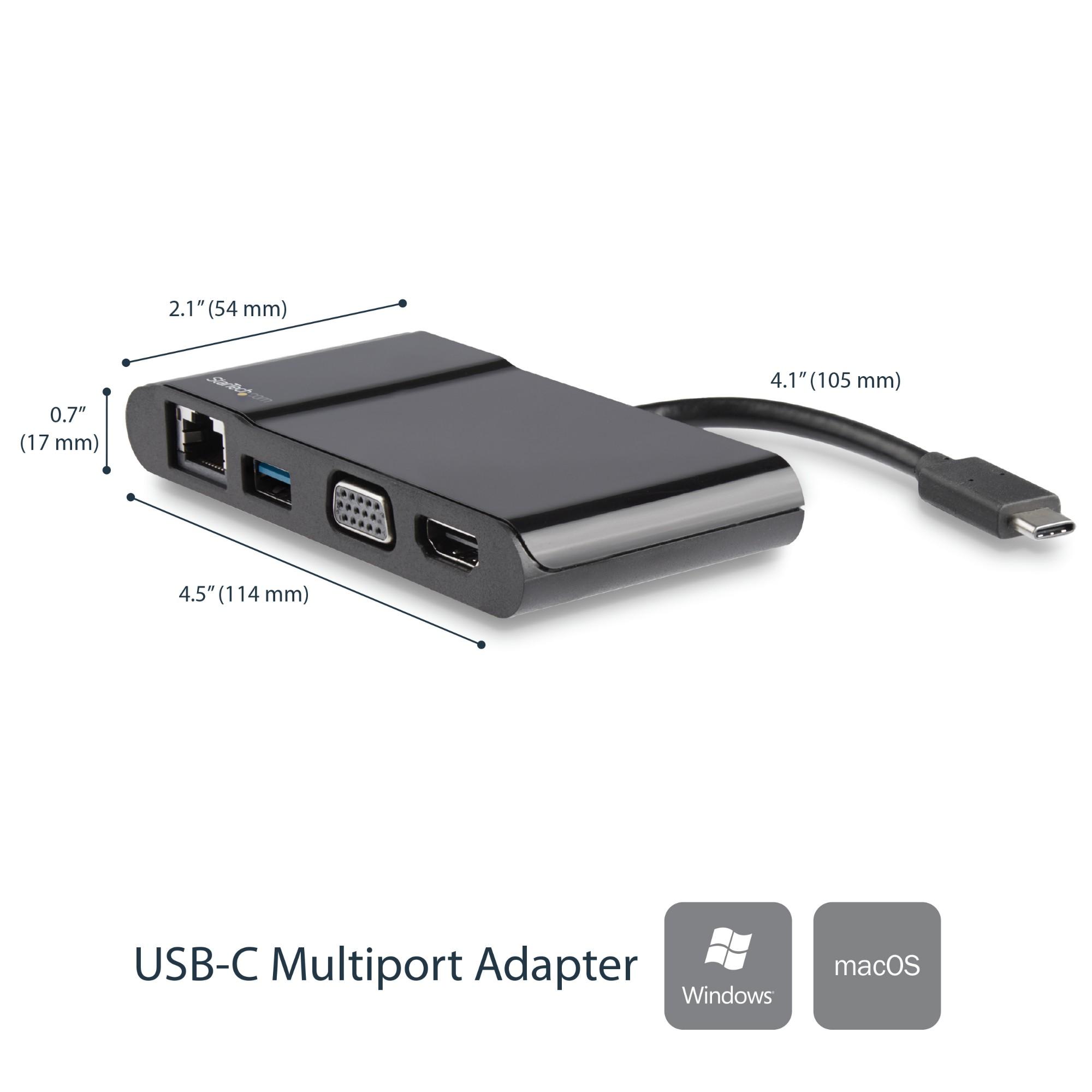 StarTech.com Adaptador Multipuertos USB-C para Ordenadores Portátiles - HDMI o VGA 4K - USB 3.0