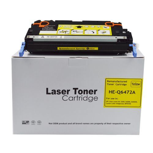 Remanufactured HP Q6472A (502A) / Canon EP711Y Yellow Toner Cartridge