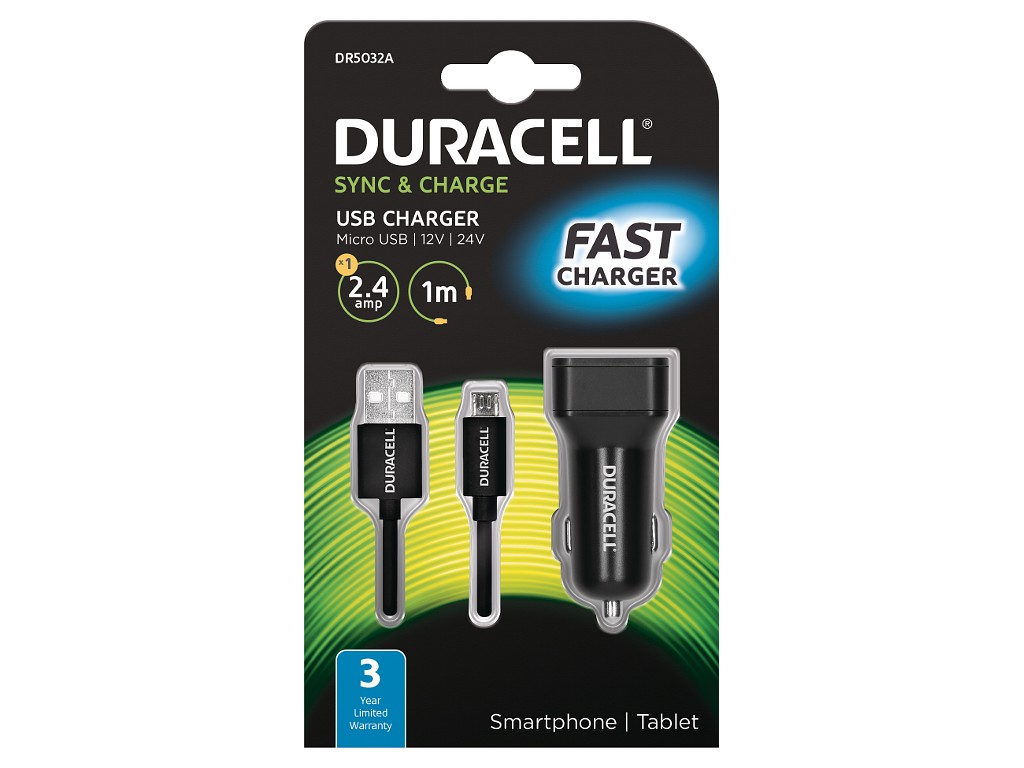 Duracell Single 2.4A +1M Micro USB Cable