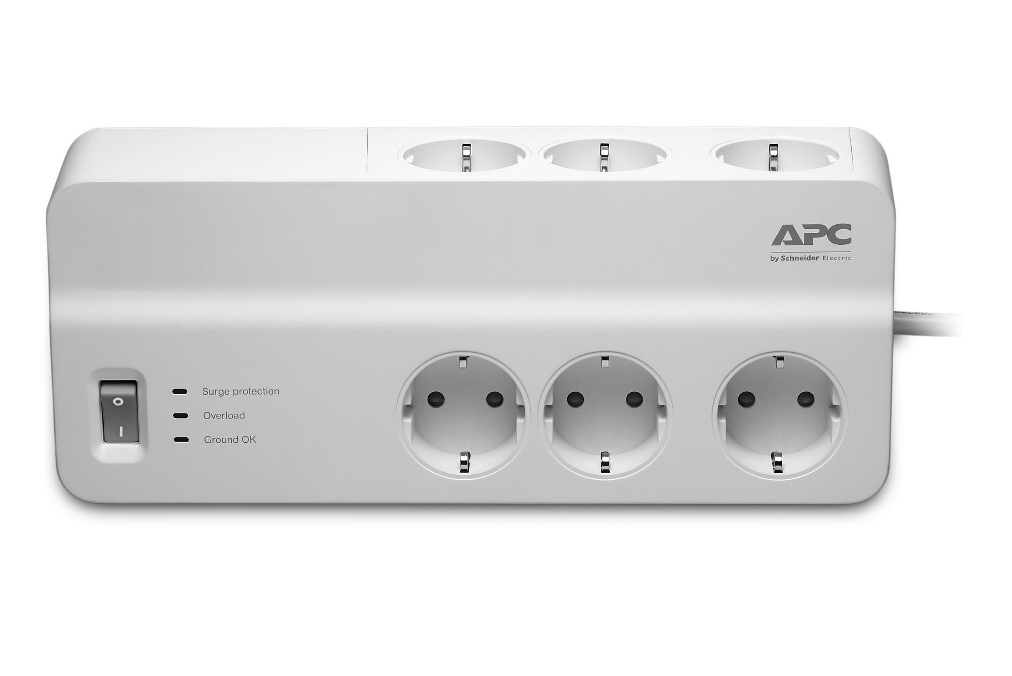 APC PM6-GR limitador de tensión 6 salidas AC 230 V 2 m Blanco
