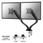 "Newstar Full Motion Dual Desk Mount (clamp & grommet) for two 10-27"" Monitor Screens, Height Adjustable (gas spring) - Black"