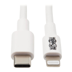 Tripp Lite USB-C Sync / Charge Cable with Lightning Connector - M/M, USB 2.0, White, 3 ft. (0.9 m)