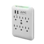 APC Essential SurgeArrest 6 Outlet Wall Tap with 5V, 2.4A 2 Port USB Charger, 120V power distribution unit (PDU) Gray, White 6 AC outlet(s)