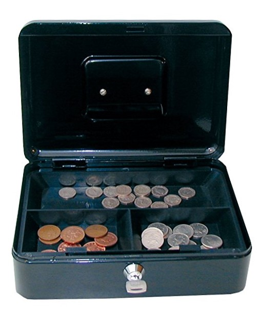 Cathedral Products Value 25cm (10 Inch) Key Lock Metal Cash Box Black