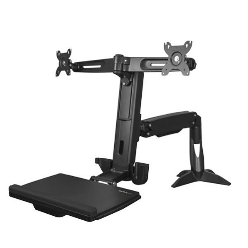 StarTech.com Sit Stand Dual Monitor Arm - Desk Mount Dual Computer Monitor Adjustable Standing Workstation for up to 24
