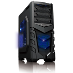 CIT Vanquish Gaming Case USB3 Toolless Side Window 2 x 12cm Blue LED Fans