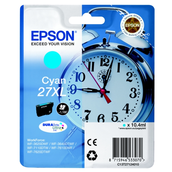 Epson C13T27124010 (27XL) Ink cartridge cyan, 1.1K pages, 10ml