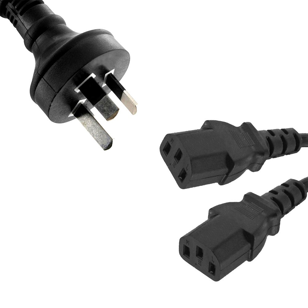 8WARE Power Cable from 3-Pin AU Male to 2 IEC C13 Female plug in 3m