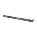 Digitus aluminum outlet strip with overload protection, 12 safety outlets, 2 x 2 m supply safety plug