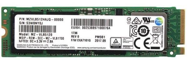 SSD  - Pm981 - 512GB - M.2 - Client Pci-e 3.0 X4v4 Tlc Phoenix