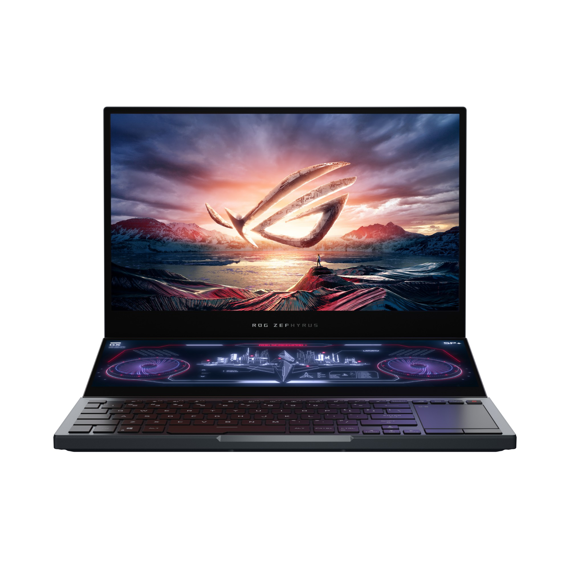 "ASUS ROG Zephyrus Duo GX550LXS-HC029R notebook Black, Grey 39.6 cm (15.6"") 3840 x 2160 pixels 10th gen Intel® Core™ i9 32 GB DDR4-SDRAM 2000 GB SSD NVIDIA GeForce RTX 2080 SUPER Wi-Fi 6 (802.11ax) Windows 10 Pro"