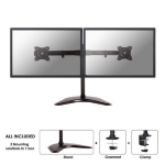 """Newstar Tilt/Turn/Rotate Dual Desk Mount (stand, clamp & grommet) for two 10-27"""" Monitor Screens, Height Adjustable - Black"""