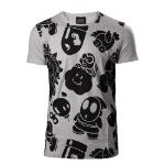 Nintendo Super Mario Bros. Men's All-over Nappy Print T-Shirt, Extra Large, Grey (TS510018NTN-XL)