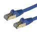StarTech.com Cable de 0,5m de Red Ethernet RJ45 Cat6a Blindado STP - Cable sin Enganche Snagless - Azul