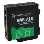 Brainboxes SW-715 network switch Unmanaged Gigabit Ethernet (10/100/1000) Black, Green