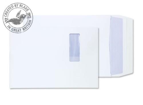 Blake Purely Packaging Gusset Pocket Peel and Seal Window White C4 324×229×25mm (Pack 125)