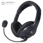 CONNEkT Gear HP512 Stereo PC On-Ear Headset with Boom Mic and Volume Control - Black