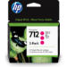 HP Paquete de 3 cartuchos de Tinta DesignJet 712 magenta de 29 ml