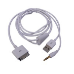 Microconnect IP1001 mobile phone cable 1x USB, 1x 3.5mm White