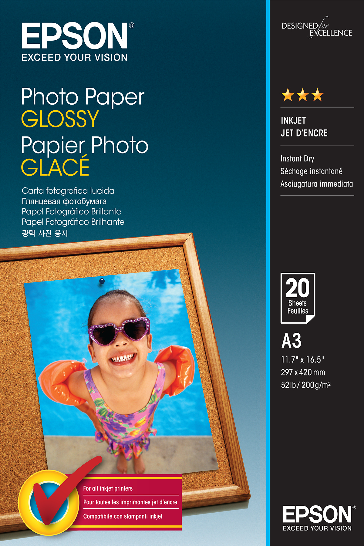 Epson Photo Paper Glossy - A3 - 20 Hojas