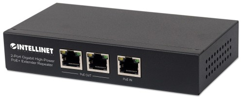Intellinet 2-Port Gigabit High-Power PoE+ Extender Repeater, IEEE 802.3at/af Power over Ethernet (PoE+/PoE), metal