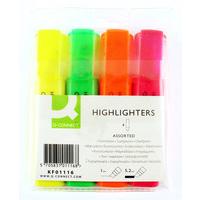 Q-CONNECT KF01116 felt pen Fine/Medium Green,Orange,Pink,Yellow 4 pc(s)