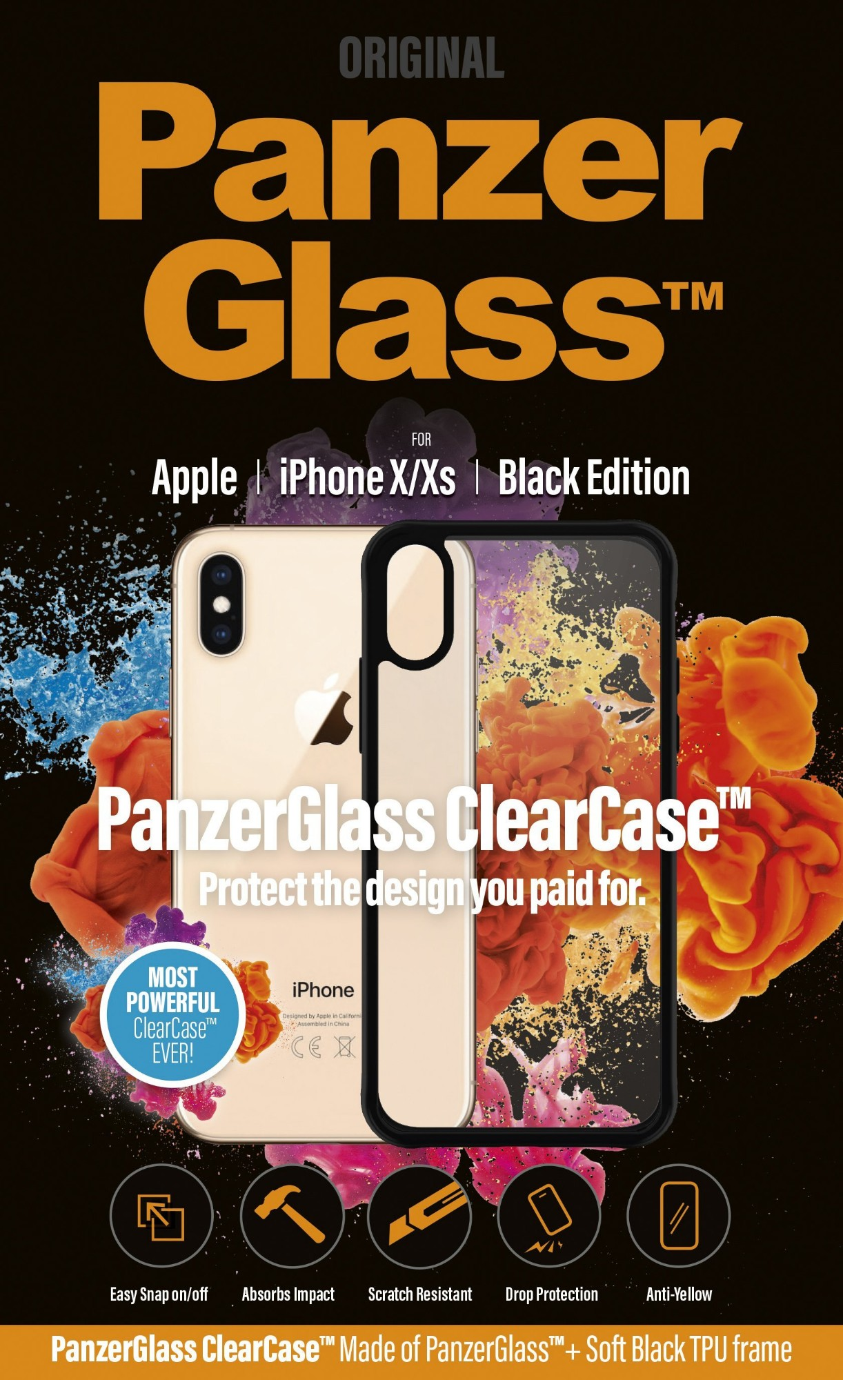 "PanzerGlass 0219 mobile phone case 14.7 cm (5.8"") Cover Black,Transparent"