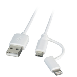 M-Cab 7070155 mobile phone cable USB A Micro-USB B/Lightning White 1 m