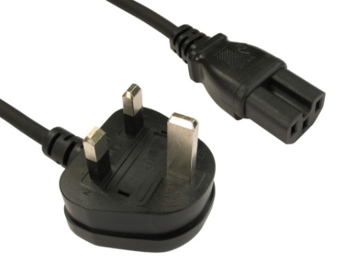 Cables Direct UK - C15 2m power cable Black BS 1363 C15 coupler