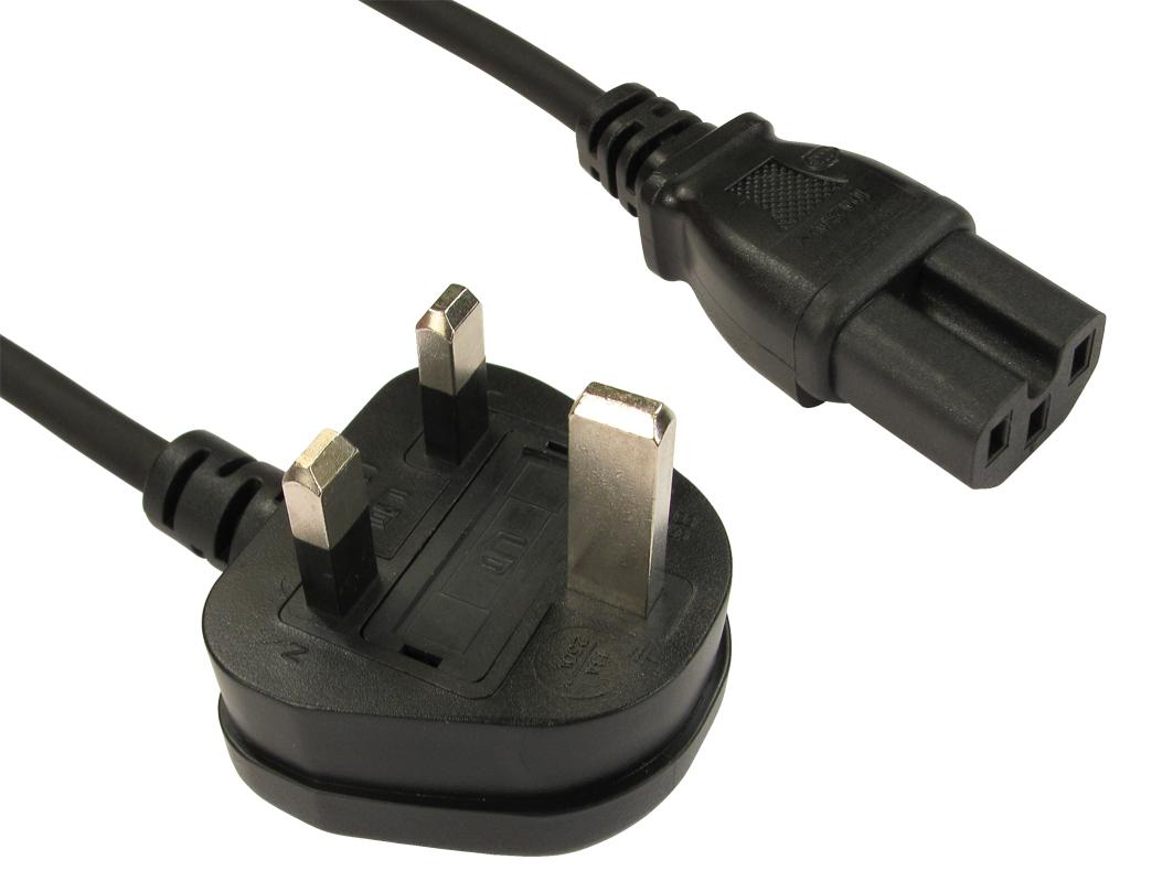 Cables Direct UK - C15 2m 2m BS 1363 C15 coupler Black power cable