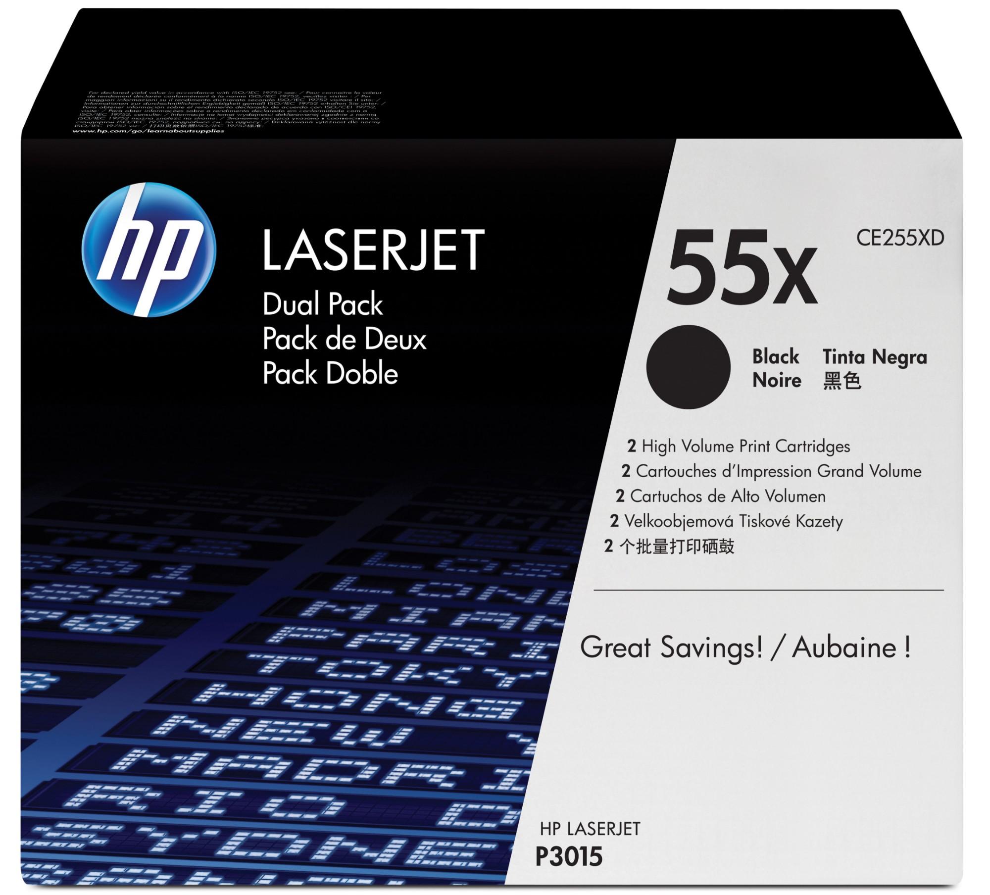 HP 55X Origineel Zwart 2 stuk(s)