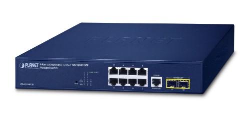 PLANET 10/100/1000T + 2-Port Managed L2/L4 Gigabit Ethernet (10/100/1000) 1U Blue