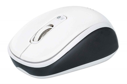 Manhattan Dual-Mode Mouse, Bluetooth 4.0, 2.4 GHz Wireless, 800/1200/1600 dpi, Three Buttons With Scroll Wheel, Black & White