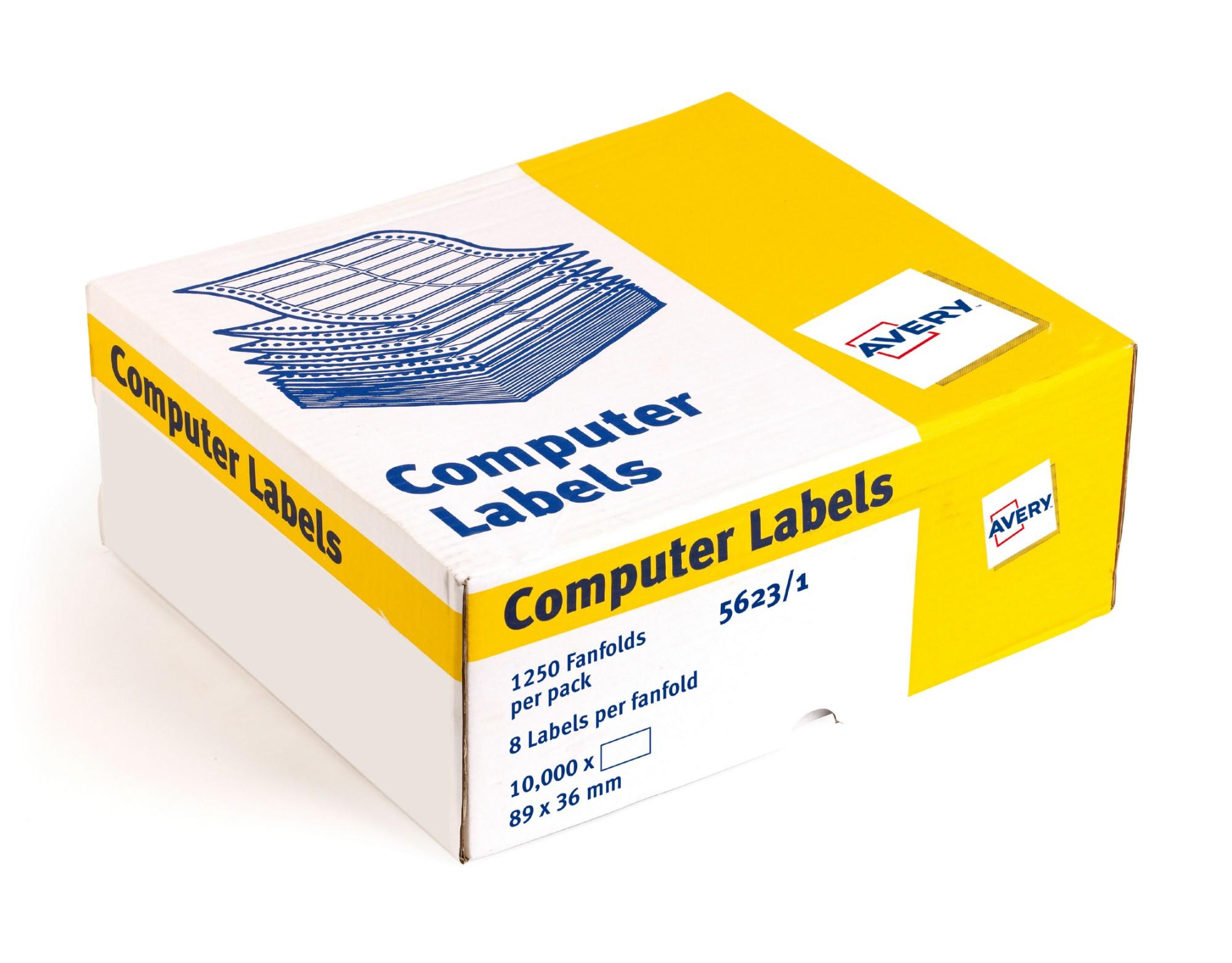 Avery 5623/1 Dot Matrix Labels 89x37mm 114mm White PK10000
