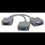 "QVS CC320Y VGA cable 7.87"" (0.2 m) 1 x VGA 2 x VGA Gray"