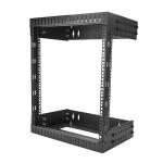 "StarTech.com 12U 19"" Wall Mount Network Rack - Adjustable Depth 12-20"" 2 Post Open Frame Server Room Rack for AV/Data/ IT Communication/Computer Equipment/Switch w/Cage Nuts & Screws"