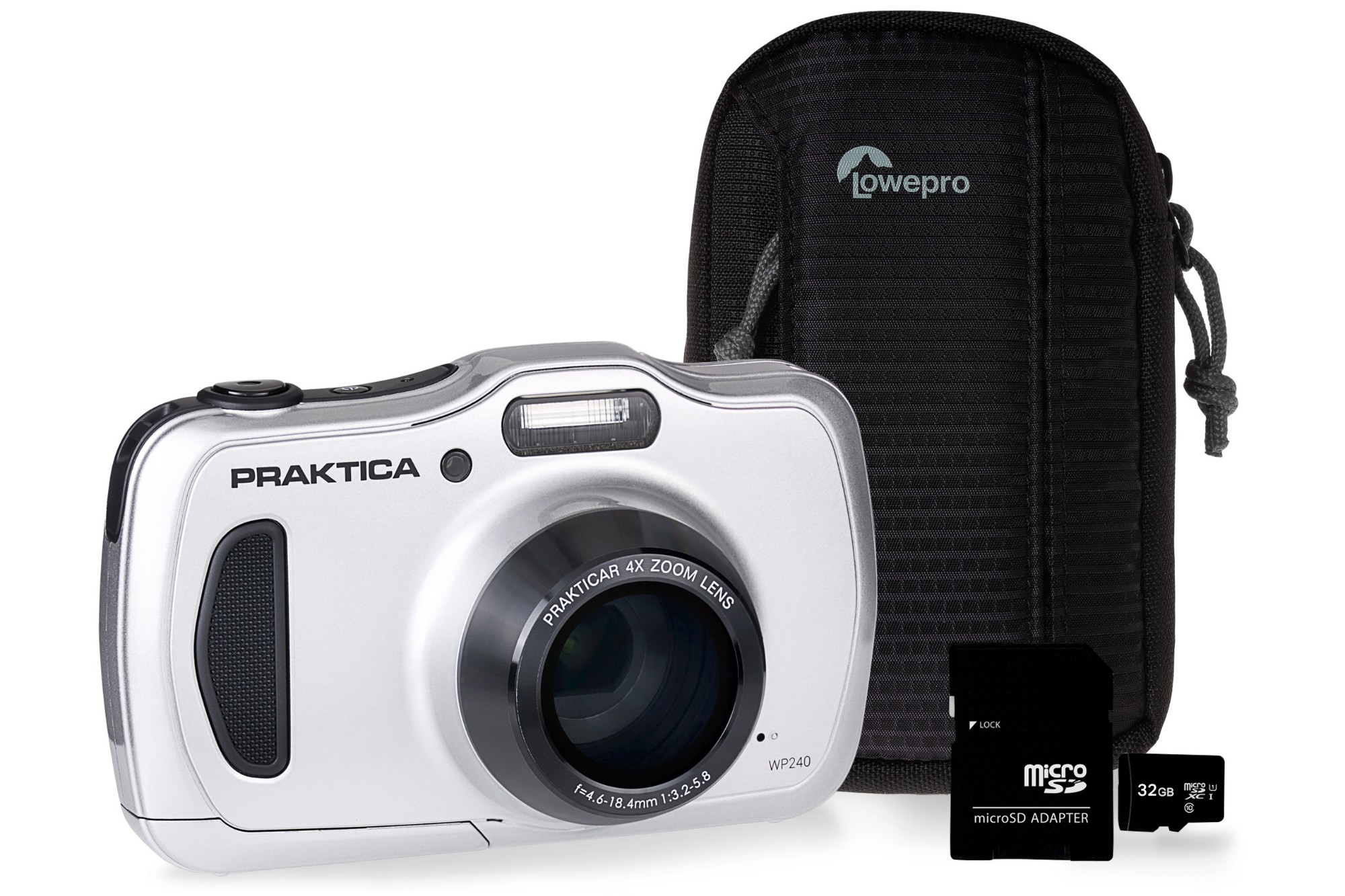 Praktica WP240 Waterproof Camera Kit inc 32GB MicroSD Card and Case - Silver