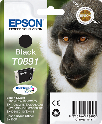 Epson Monkey Singlepack Black T0891 DURABrite Ultra Ink